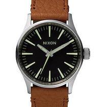 New Nixon Men's the Sentry 38 Leather Watch Quartz Wristwatch Brown Photo