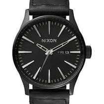 New Nixon Men's the Sentry Leather Watch Quartz Wristwatch Black Photo