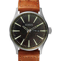 New Nixon Men's the Sentry Leather Watch Quartz Wristwatch Brown Photo