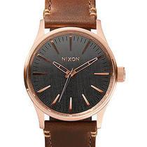 New Nixon Women's the Sentry 38 Leather Watch Quartz Wristwatch Brown Photo