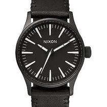 New Nixon Women's the Sentry 38 Leather Watch Quartz Wristwatch Black Photo