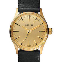 New Nixon Women's the Sentry 38 Leather Watch Quartz Wristwatch Gold Photo
