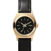 New Nixon Women's the Small Time Teller Leather Watch Quartz Wristwatch Gold Photo