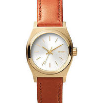 New Nixon Women's the Small Time Teller Leather Watch Quartz Wristwatch Brown Photo