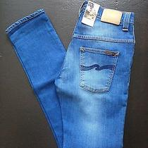 New Nudie Jeans Tape Ted Organic Blue Esmeralds Sz 30/34 Slim Denim Nwt a.p.c. Photo