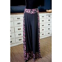 New Nwot 150 Anthropologie Farm Rio Floral Black Wide Leg Pants Size Medium M Photo