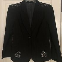 New Nwot Black Womens Lined Blazer Jacket W Rhinestones Allen Schwartz Size Xl Photo