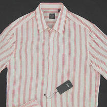 New Nwt 165 Hugo Boss Black Label Slim Fit Pure Linen Short Sleeved Shirt M Photo
