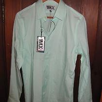 New Nwt 60 1mx Express Fitted Mint Green Cotton Shirt Top Men's Mediuim 15.5 15 Photo