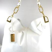 New Nwt Badgley Mischka 325 Gaia White Leather Hobo Bag Photo