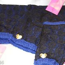 New Nwt Betsey Johnson Royal Blue State of Lace Snood Hat & Fingerless Gloves Photo