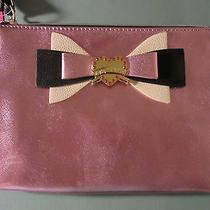 New Nwt Betsey Johnson Saffiano Blush Pink Bow Wristlet /clutch Photo