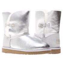 New Nwt Box Ugg Australia Girls Metallic Bailey Button Sterling Silver Us 1 139 Photo