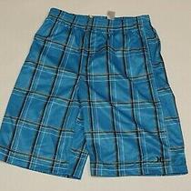 New Nwt Boys Hurley Blue Black Gray White Plaid Shorts 18-20 Xl Elastic Waist Photo