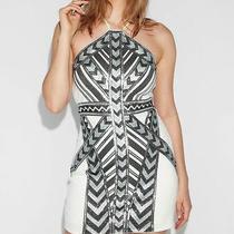 New Nwt Express Sequin Ivory Deco Aztec Halter Sheath Skirt Dress Sz Medium M  Photo