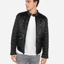 New Nwt Express Vegan Leather Nylon Puffer Jacket Black Jacket Sz Small S Mens Photo