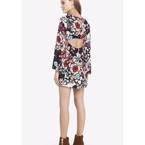 New Nwt Express Womens Size 4 Retro Floral Cut Out Back Long Sleeve Midi Dress Photo