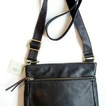 New Nwt Fossil 'Corey' Medium Black Leather Crossbody Bag Handbag Purse Photo