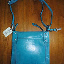 New Nwt Fossil Hathaway Crossbody Genuine Leather Glazed Blue Purse Photo