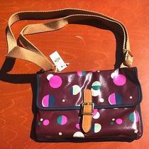 New Nwt Fossil Keyper Mini Total Eclipse Vinyl Red Circle Shoulder Purse Handbag Photo