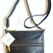 New Nwt Fossil 'Voyager' Small Black Leather Crossbody Bag Handbag Purse Photo