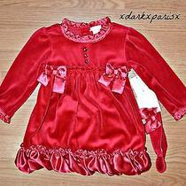 New Nwt Gorgeous Camilla Toddler Girls Velour Ruffled 3pc Dress Set Sz18m Photo