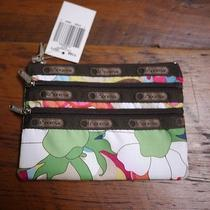 New Nwt Le Sportsac Colorful Floral 3 Zipper Cosmetic Makeup Travel Bag Small Photo