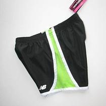 New Nwt New Balance Black & Green Running Sports Athletic Shorts Girls 10 Photo