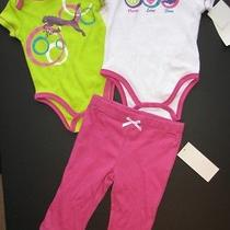 New Nwt Puma 3pc Pink White Green Outfit Set 2 Tops & 1 Pants Girls 3-6m 38 Photo