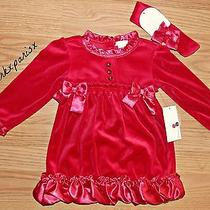 New Nwt Red Camilla Toddler Girls Velour 3pc Dress Set Sz18 Months  Photo