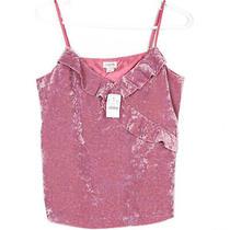 New Nwt Womens J. Crew Pink Blush Soft Velvet Ruffle Cami Top Retro 70s Sz Small Photo