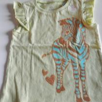 New Old Navy Infant Girl Light Green W/ Golden-Aqua Zebra Graphic Tee Sz 12-18m Photo