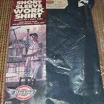 New Old Stock Vintage Dickies Short Sleeve Work Shirt Xxxl Blue Usa Made 3xl Photo