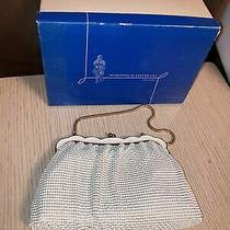New Old Stock Whiting and Davis Purse Clutch Bag White Enamel Mesh Gold Chain Photo
