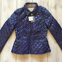 New Original Burberry Women Navy Blue Quilted Jacket Size L ( Us - 06 It - 42 ) Photo