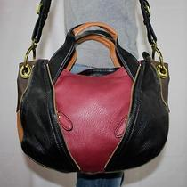 New Oryany Medium Red Black Leather Shoulder Hobo Tote Satchel Slouch Purse Bag Photo