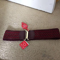 New -Oscar De La Renta- Maroon Braided Stretch Belt  L Photo