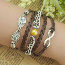 New Owl / Angel Wings / Wireless Symbol / Hand-Woven Multi-Element Bracelet Photo