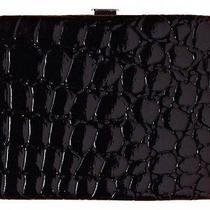 New Paige Black Croc Pattern Mini Flat Small Hinged Wallet Id Case Photo