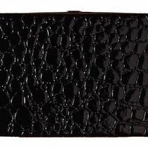 New Paige Solid Black Croc Pattern Flat Hinged Large Opera Wallet Clutch Photo