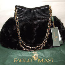 New Paolo Masi Black Mink Fur Shoulderbag Italian Leather Purse Hobo Tote Bag Photo