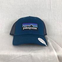 New Patagonia P6 Logo Trucker Hat Big Sur Blue Lopro Fast Ship Cap Snap Back Photo