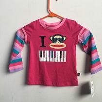 New Paul Frank 3t Long Sleeve Shirt Pink Stripes Nwt 24 Piano Julius Monkey  Photo