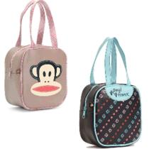 New  Paul Frank Square Satchel Purse Handbag - Black and Aqua Julius Print Photo