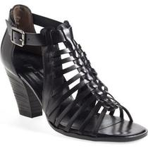 New  Paul Green Christy  Us 9.5 Uk 7 M Black Leather  Woven Cage Sandals 339 Photo
