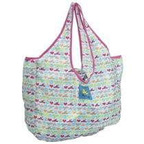 New Peace Frogs Packable Tote - Peace Love Frog Print - Aqua Photo