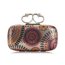 New Peacock Sequins Rhinestone Knuckle Rings Evening Clutch Handbag Cocktail Bag Photo