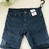New Petrol Blue Stretch Skinny Tyler Jean Shorts W32 From Burtons Rrp 22 Photo