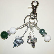 New Philadelphia Eagles Gemstone Purse Charm Key Ring Chain Mother of Pearljade Photo