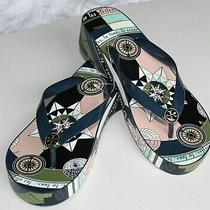 New Pink Blue Print Tory Burch Cutout Wedge Flip Flops Sandals Women's Shoes 8 Photo